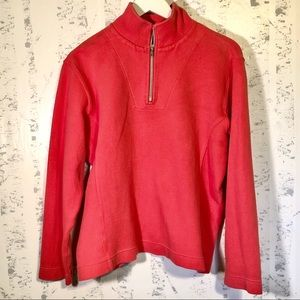 Womens Tommy Bahama Quarter Zip Pullover Coral Med